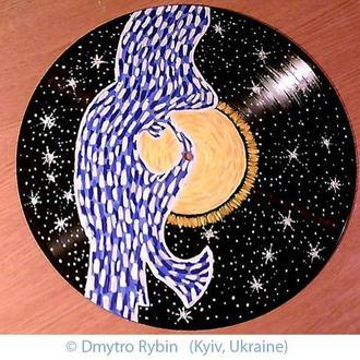 Картина на виниловом диске. Саксофонист, звезды и солнце. Акриловые краски. Энергетическая живопись.