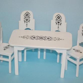 Мебель для кукол Обеденный стол со стульями