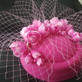 Шляпка таблетка с вуалью