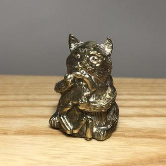 Наперсток бронза Кот с сосисками