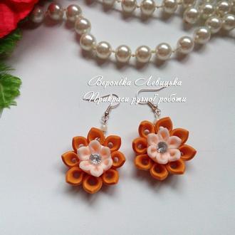 Серьги ′Цветок канзаши′