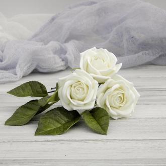 Шпильки для волос Poзы айвори, Шпильки с цветами невесте