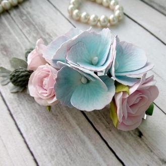 Заколка для волос с цветами из фоамирана