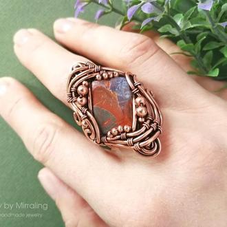 Коктейльное кольцо с яшмой / Кольцо в технике wire wrap / Крупный перстень с большим камнем