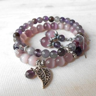 Комплект браслет и серьги из натуральных камней