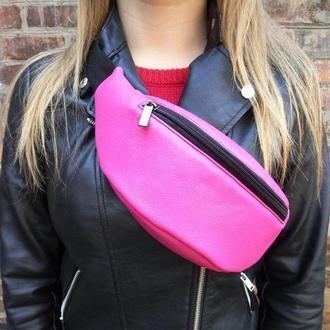 Ярко-розовая поясная сумка, женская бананка, сумка на пояс