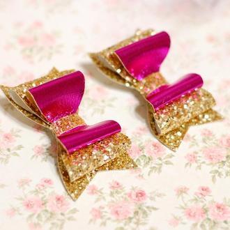 Яркие модные стильные двойные бантики из экокожи