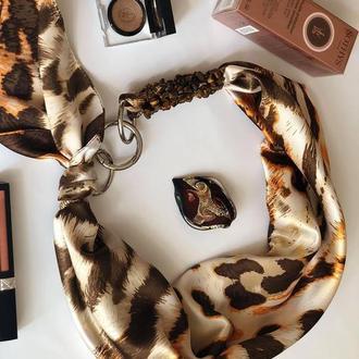 """""""Жемчужный песок"""" атласный шарф, атласный платок, шелковый платок, шейный платок, шарф-ожерелье"""