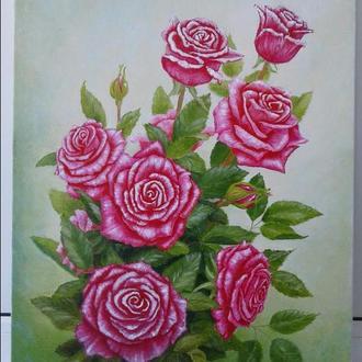 """Картина маслом """"Розы"""" холст 40×50см"""