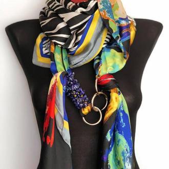 """""""Красочная палитра"""" большой шелковый шарф, шелковый платок, атласный платок, шарф-ожерелье"""