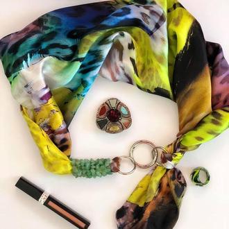"""""""Стильная пантера"""" 100% шелк, шелковый шарф, шелковый платок, шарф-ожерелье, шарф-чокер"""