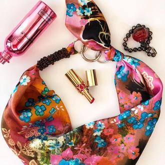 """""""Голубая сакура"""" 100% шелковый шарф, шелковый платок, шарф-ожерелье, шарф-чокер"""