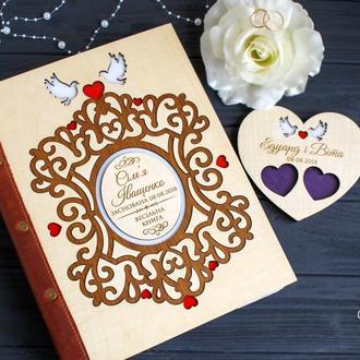 Деревянная книга пожеланий/ свадебная книга / гостевая книга