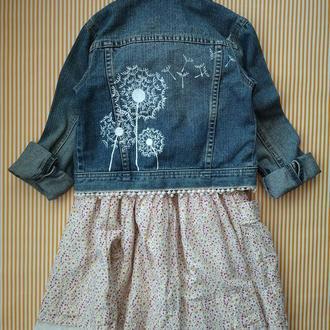 Джинсовая курточка на девочку 122р. с ручной росписью