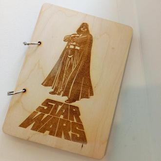 Стильный блокнот с деревянной обложкой Star Wars dart water эко дерево