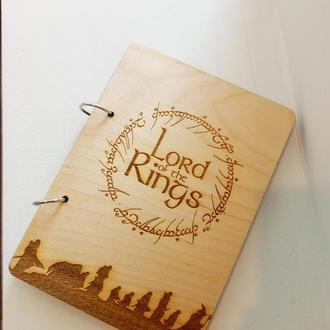 Стильный блокнот с деревянной обложкой Властелин колец king of the rings эко дерево