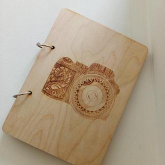 Эко блокнот с деревянной обложкой фотоаппарат стильный блокнот из дерева фотографу
