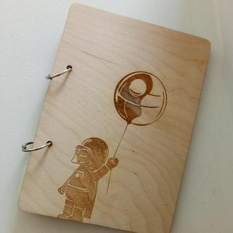 Эко блокнот с деревянной обложкой dart water дарт вейдер малых стильный скэтчбук из дерева