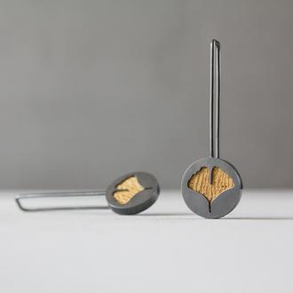 Серебряные серьги с Гинкго