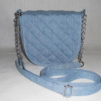 Джинсовая сумочка кросс-боди стеганая