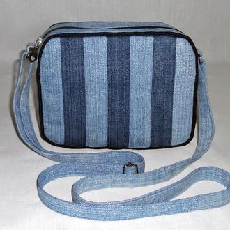 Полосатая джинсовая сумочка через плечо
