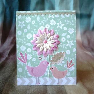 """Открытка """"Птички и цветок"""""""
