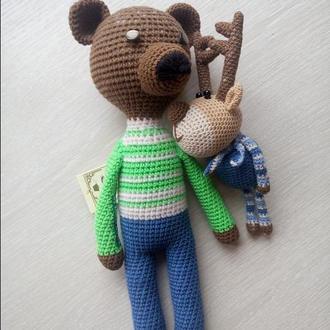 Вязаная игрушка, Медведь длинноногий связан крючком