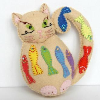 авторський котик на візочок ручна робота фетр, кот авторская игрушка ручная работа фетр