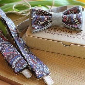 Набор подтяжки и бабочка серый  с восточным рисунком
