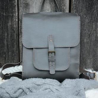 Рюкзак кожаный серый мужской