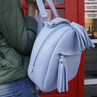 Нежно-голубой женский рюкзак с кисточками