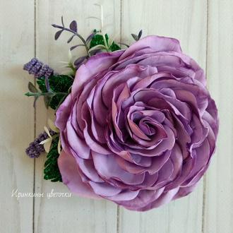 Сиреневая роза из фоамирана на заколке