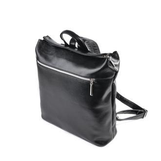 Городской рюкзак Черный гладкий кожзам