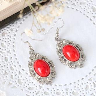 Серьги в винтажном стиле с красным камнем  крючки медицинская сталь серьги под красное платье