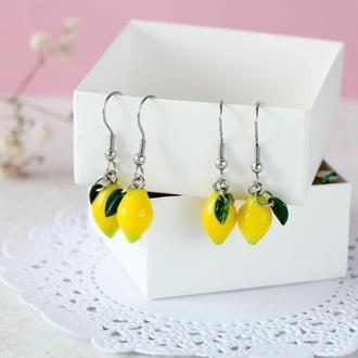 Милые серьги лимоны, серьги хирургическая сталь, подарок подруге подарок сестре