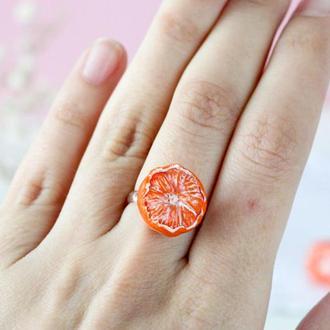 Кольцо мандарина кольцо из полимерной глины подарок для для девушки подарок кольцо для ребенка