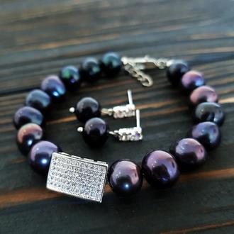 Браслет з натуральних чорних перлів з цирконами