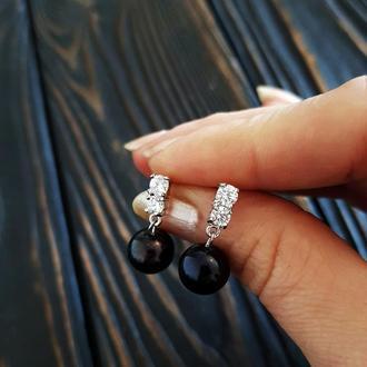 Сережки натуральні перли, медична сталь та циркони