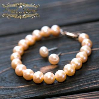 Браслет з персикових перлів вищого класу