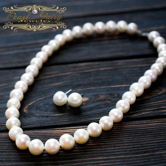 Розкішне намисто з великих натуральних білих перлів у сріблі
