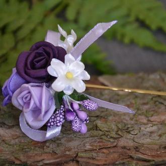 Шпилька с шелковыми розами.