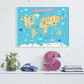 Графический постер Карта мира животных