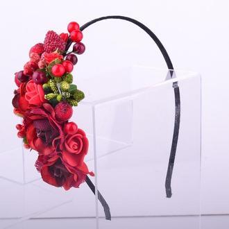 Обруч веночек, половинка, Маки-розы-ягодки