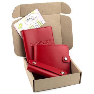 Подарочный набор №20 (красный): обложка на паспорт + портмоне П1 + ключница