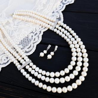 Трьохрядне кольє з натуральних перлів та кристалів