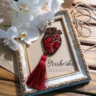 Брошь Сердце Красное