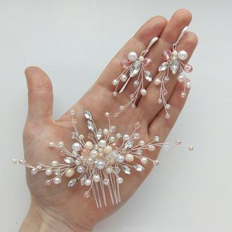 Свадебные украшения для невесты, веточка в прическу, гребень, комплект украшений  гребешок и серьги