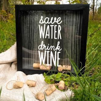 Рамка для винных пробок - Save Water Drink Wine (черная)