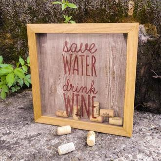 Рамка-копилка для винных пробок (натуральный дуб)