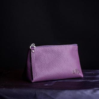 Косметичка Адель из натуральной итальянской кожи в Фиолетовом цвете | 1_0020S_ADL